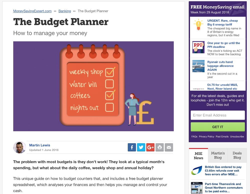 MoneySavingExpert com The budget planner