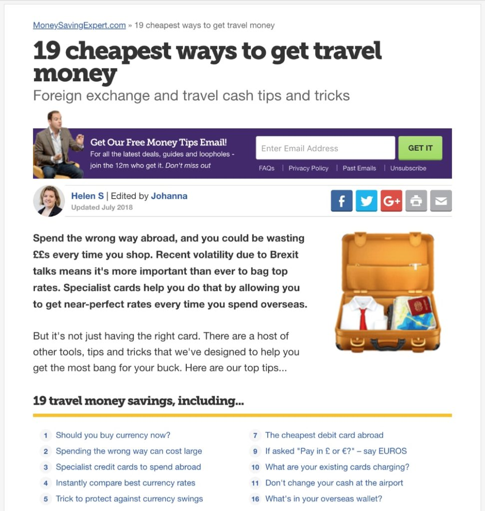 MoneySavingExpert.com 15 cheapest ways to get travel money