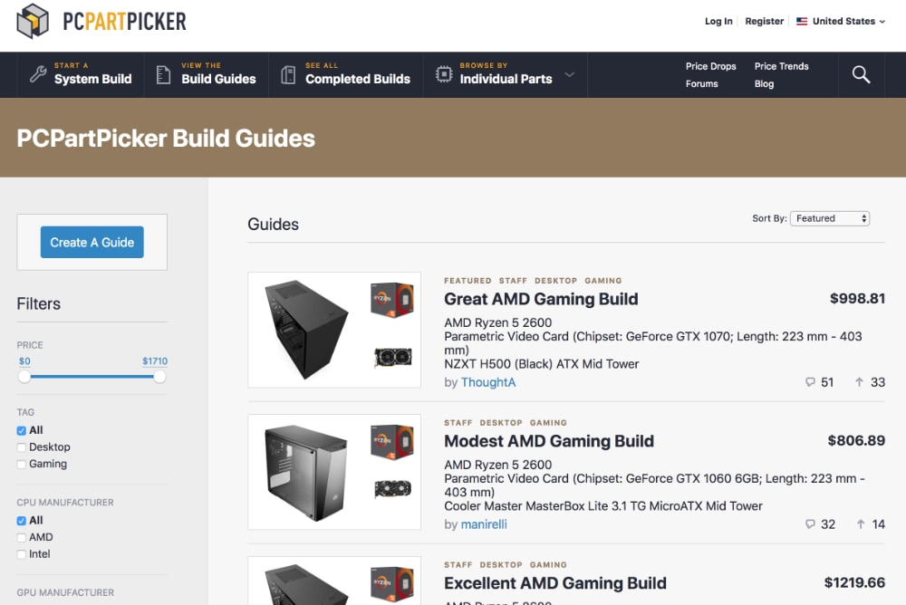 PCPartPicker Build Guides