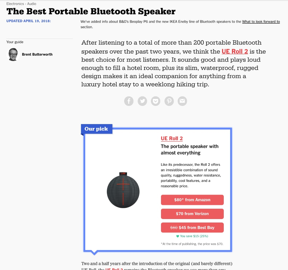 Wirecutter The best Bluetooth speakers
