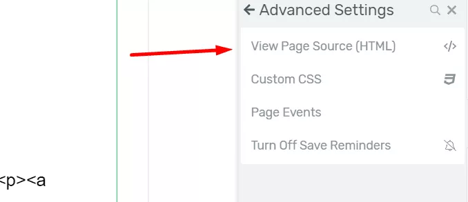 Page Source Option In Thrive Architect