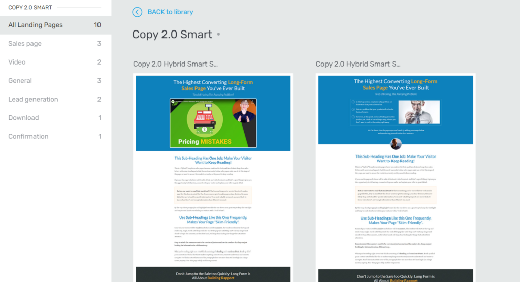 Thrive Architect All Landing Pages Templates