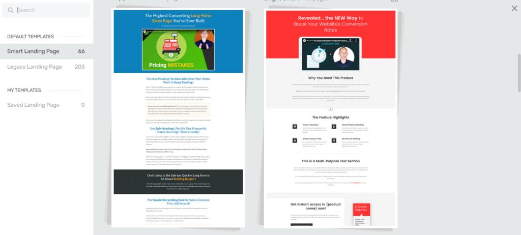 Thrive Architect Default Landing Pages