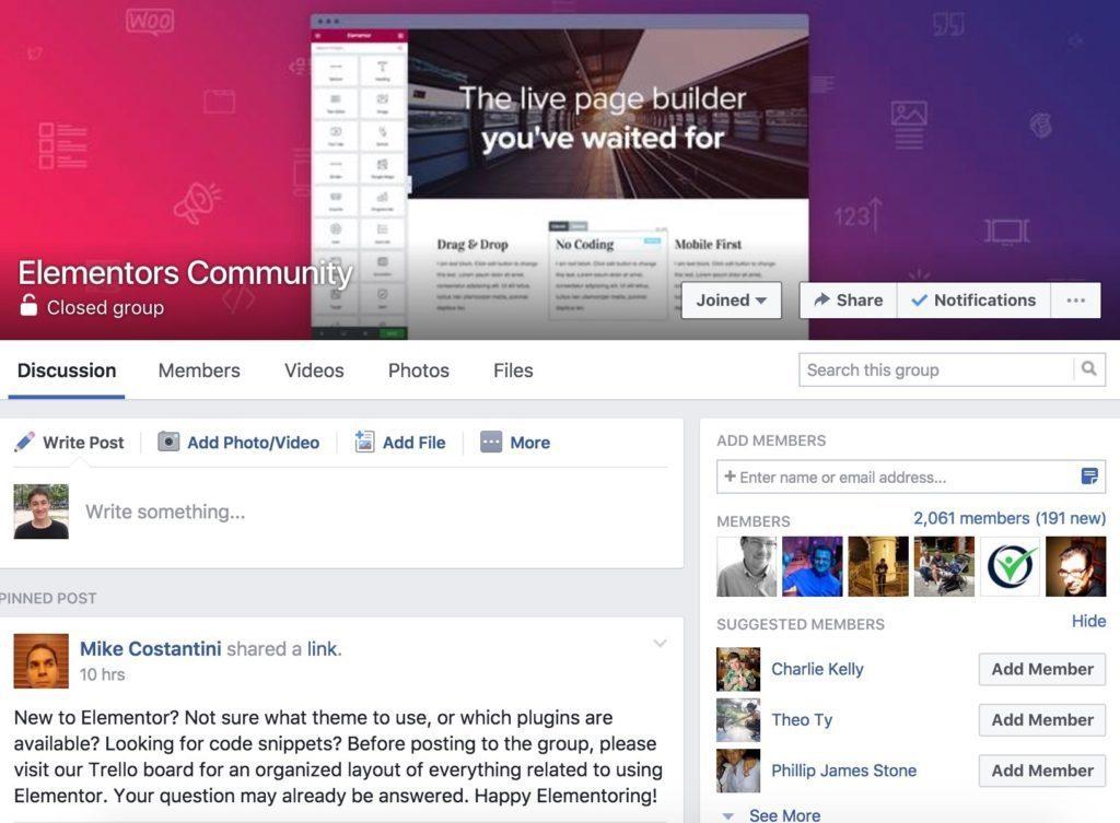 Elementors Community on Facebook