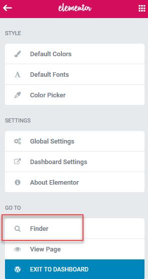 Elementor finder in the main menu