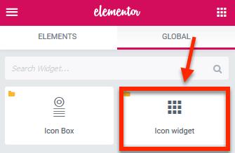 Elementor global widget list