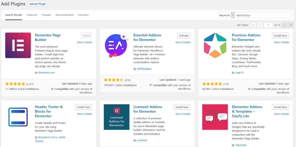 Elementor plugin search in WordPress