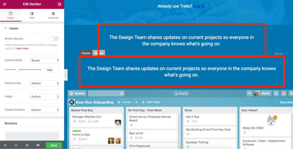 how to build Trello homepage with Elementor