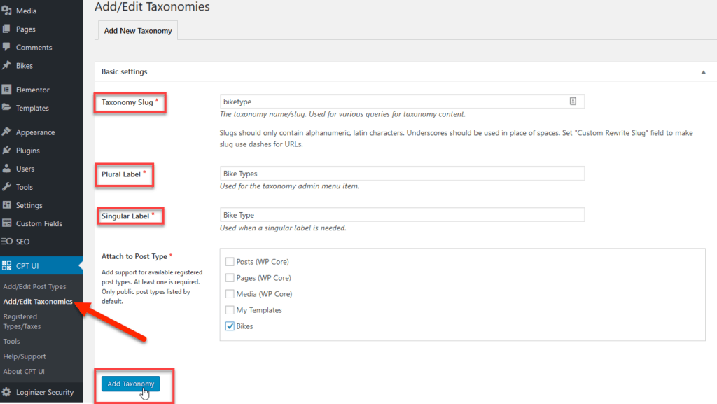 custom post taxonomy in Elementor