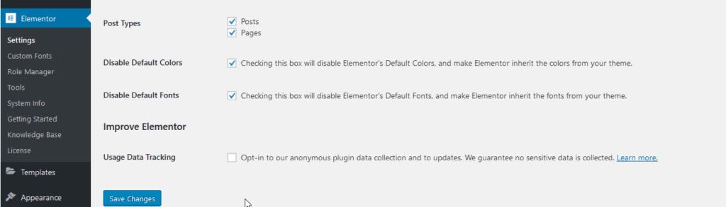disable/enable default colour schemes in Elementor