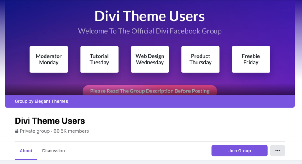 Divi Theme Users Facebook Group