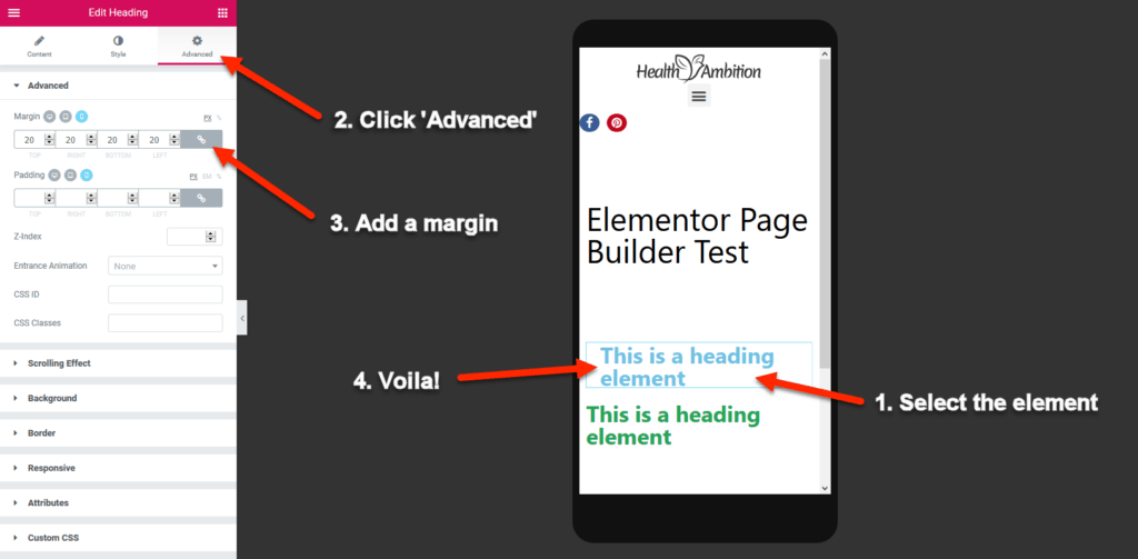 Editing Mobile Preview in Elementor