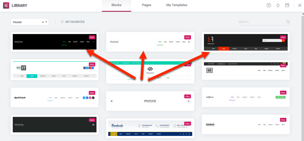 header templates in Elementor