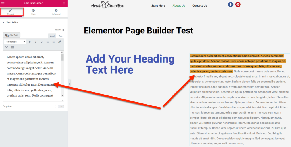 inline and sidebar text editing in Elementor