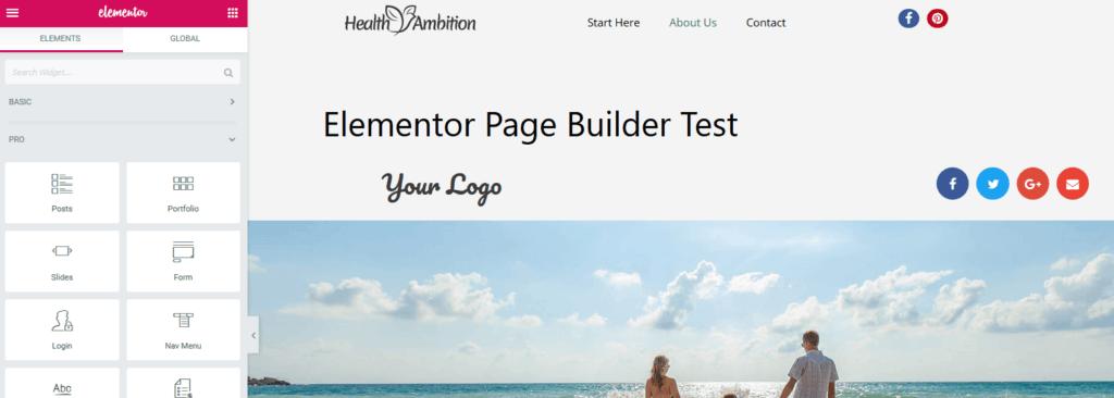 inserting Elementor template