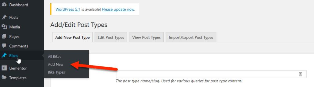 menu option after adding custom post type in Elementor