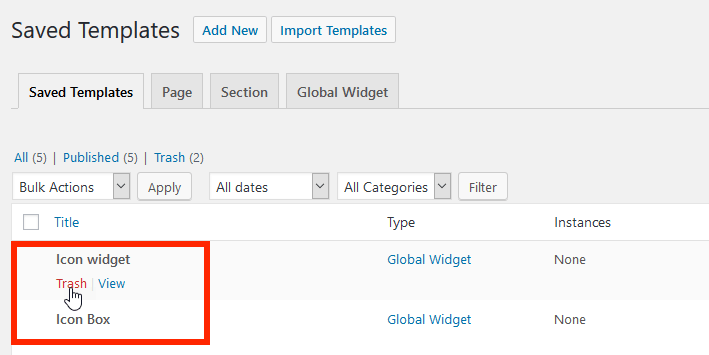 saved templates in Elementor
