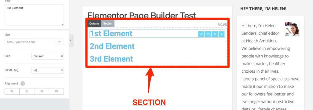 Example of Section Template in Elementor