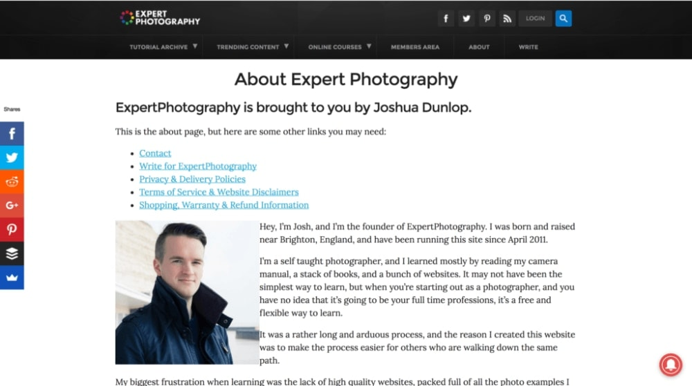 Josh features in articles and videos on Expert Photogrpahy