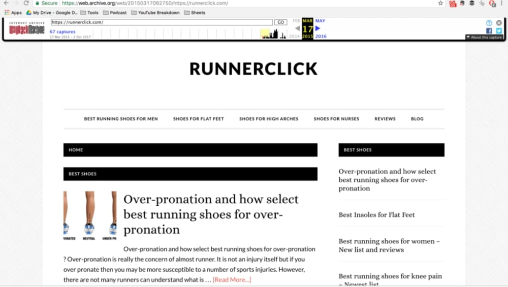 Runner Click Homepage in 2015