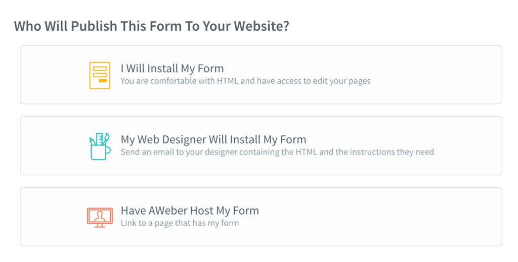AWeber Form Hosting Options