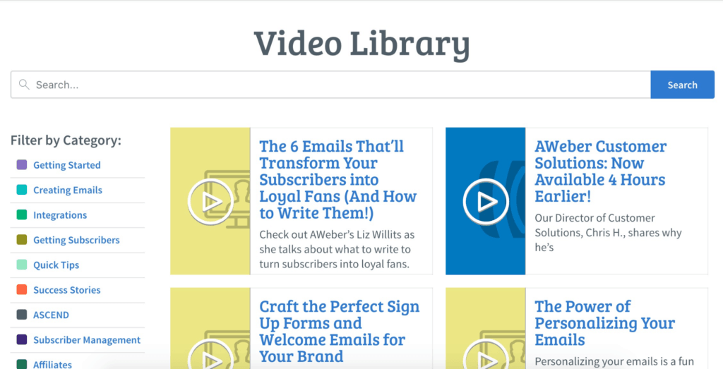 AWeber Video Library