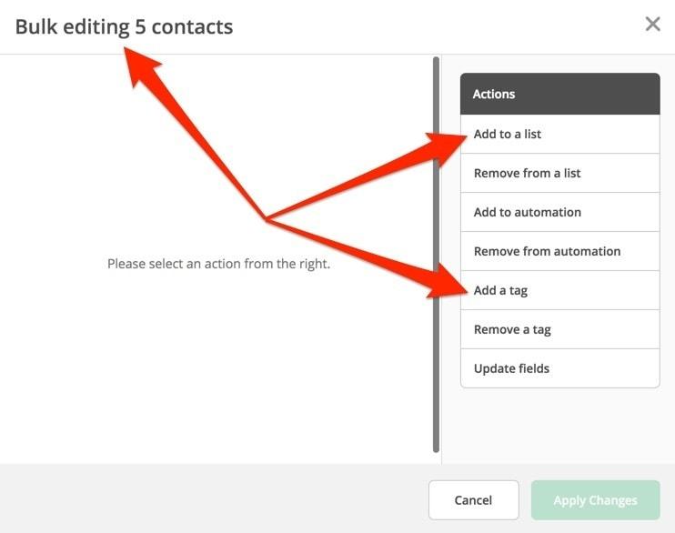 ActiveCampaign Bulk Editing Contacts