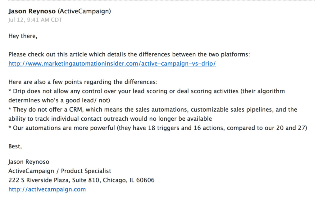 ActiveCampaign Email Answer