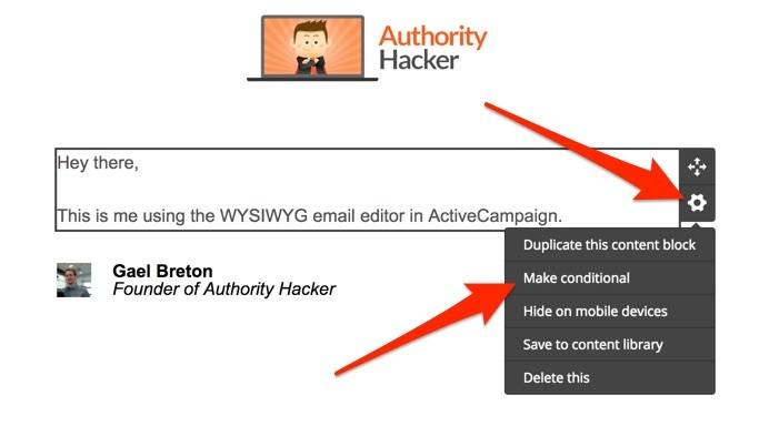 ActiveCampaign Email Editor Conditional Blocks