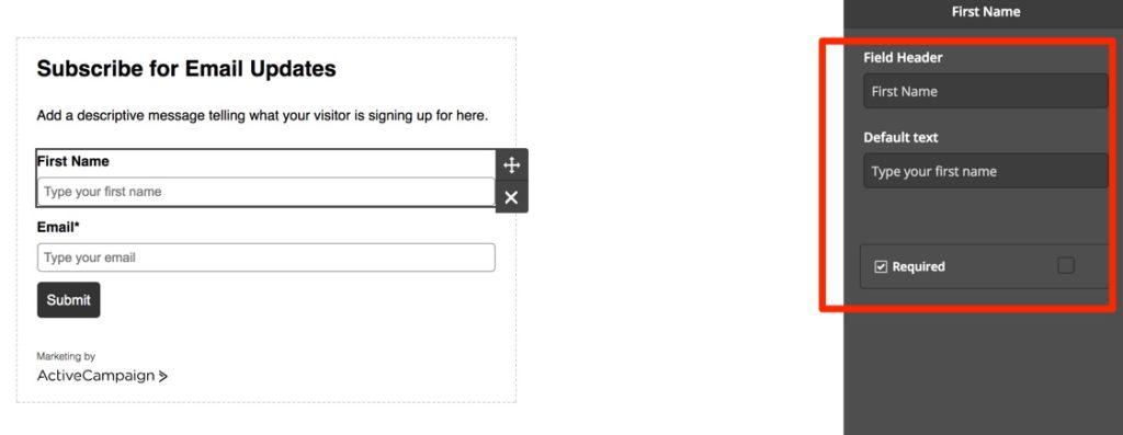 ActiveCampaign Form Builder Options