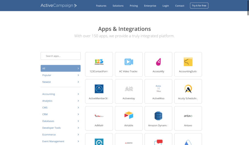 ActiveCampaign Integrations Dashboard