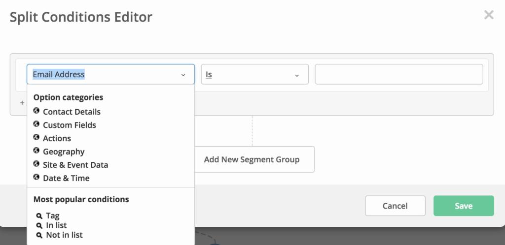 ActiveCampaign Split Conditions Editor