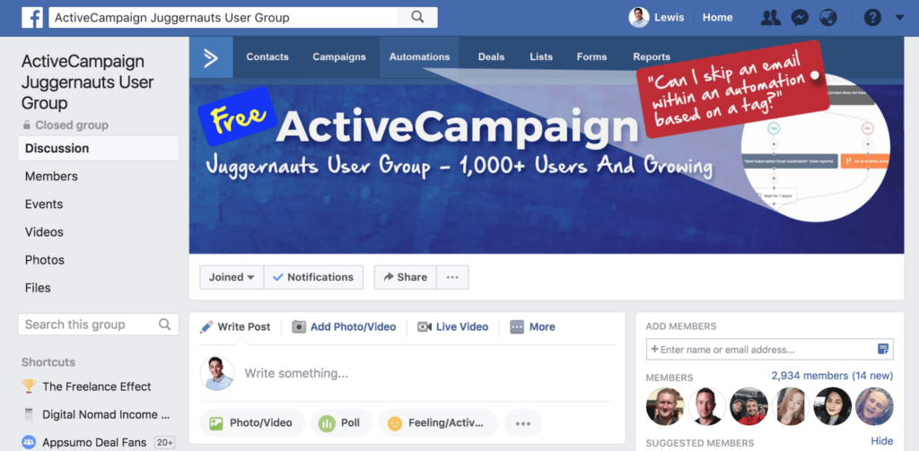 ActiveCampaign Unofficial Facebook Group