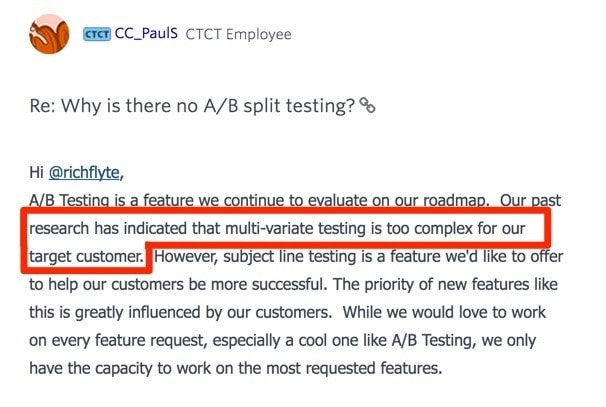 Constant Contact Official Response To No A:B Split Testing