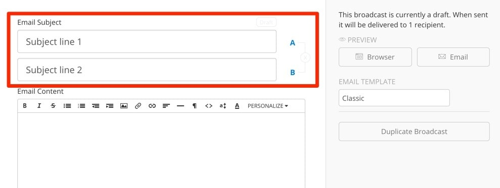 ConvertKit A/B Testing Email Subject