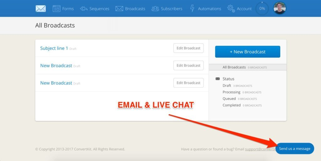 ConvertKit Email & Live Chat Support