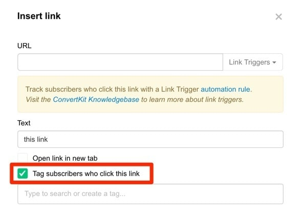 ConvertKit subscribers Tracking with Link Tigger