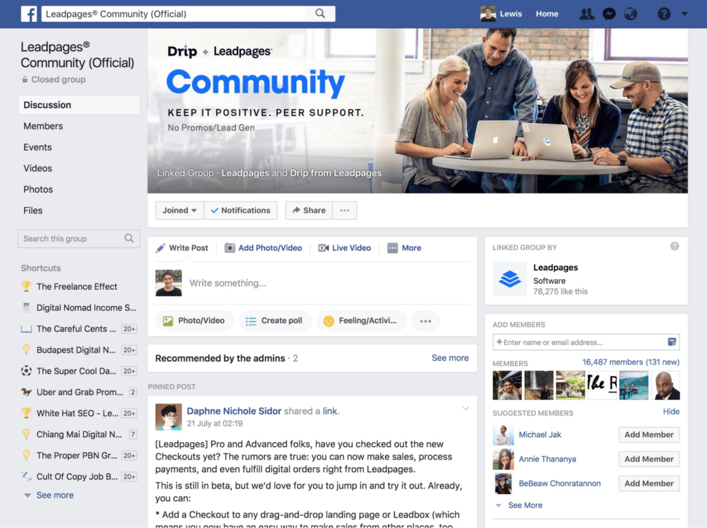 Drip Leadpages Community Facebook Group