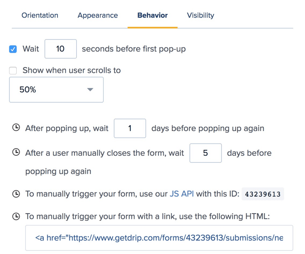 Example of Behavioural Popup Forms in Drip