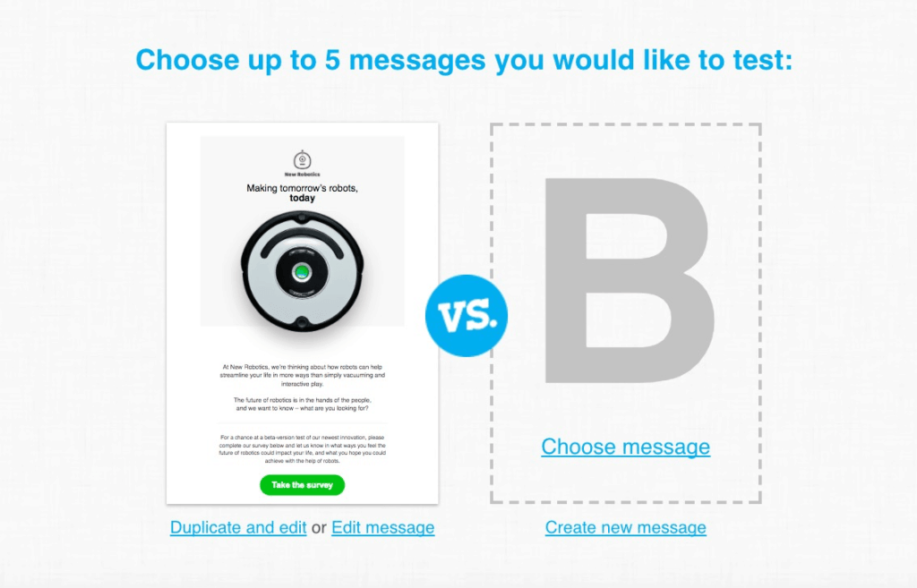 GetResponse A/B Testing Email Content