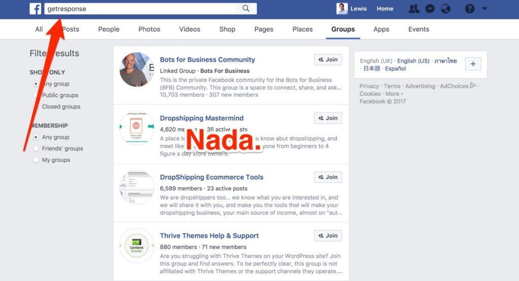 GetResponse Facebook Group Search