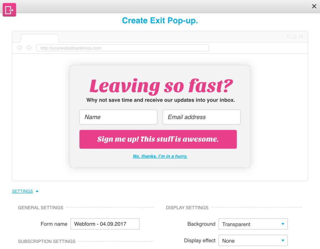 GetResponse Form Editor Exit Intent Popup