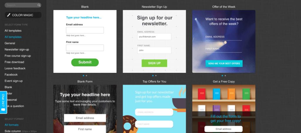 GetResponse Pre Design Form Templates