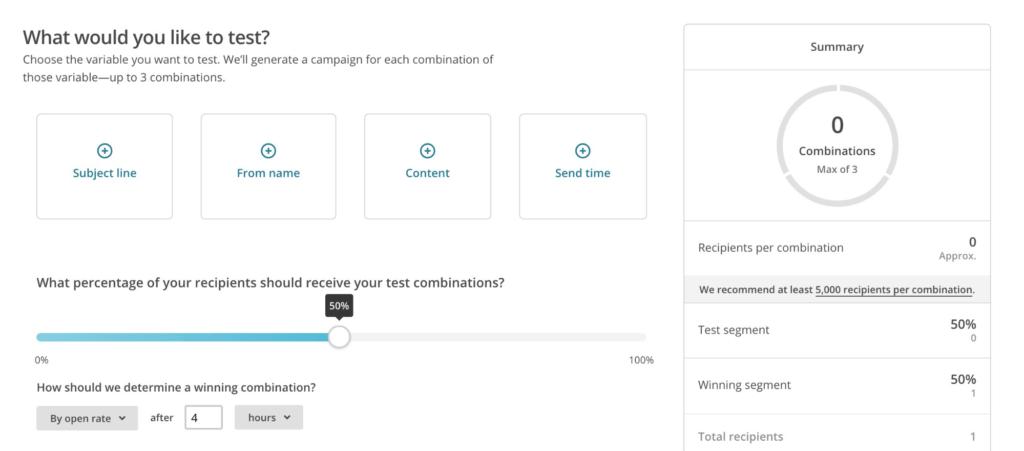 MailChimp A/B Testing Menu