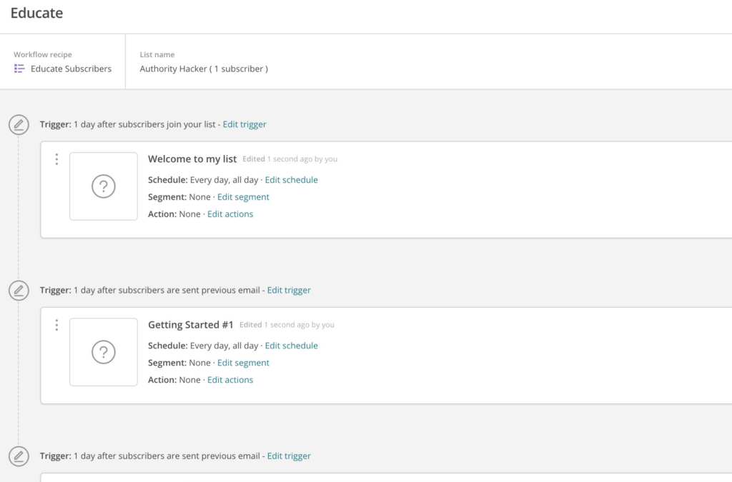 MailChimp Automation Builder