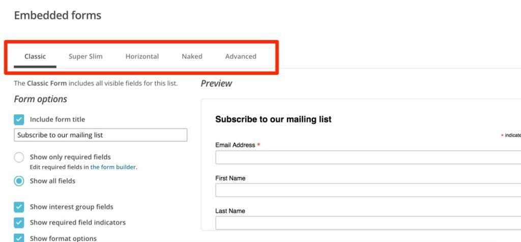 MailChimp Embedded Forms