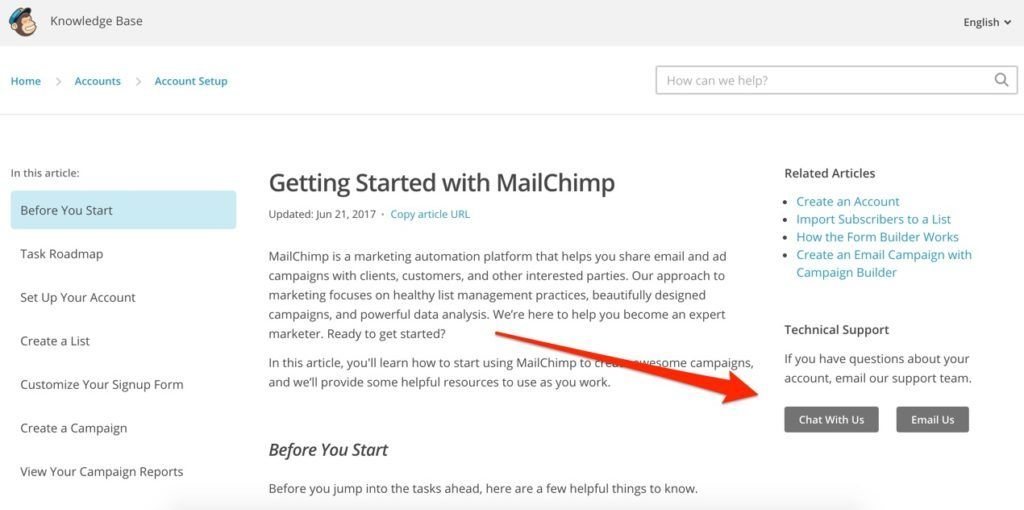 MailChimp Technical Support