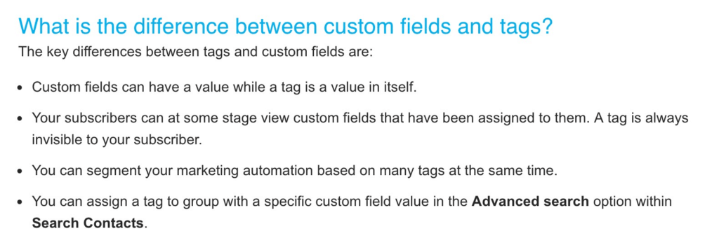 What is the difference between custom fields and tags