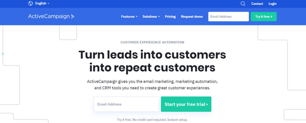 Activecampaign Homepage Screenshot