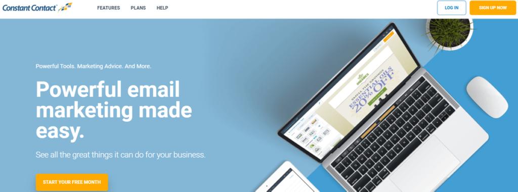 Constant Contact Homepage Screenshot